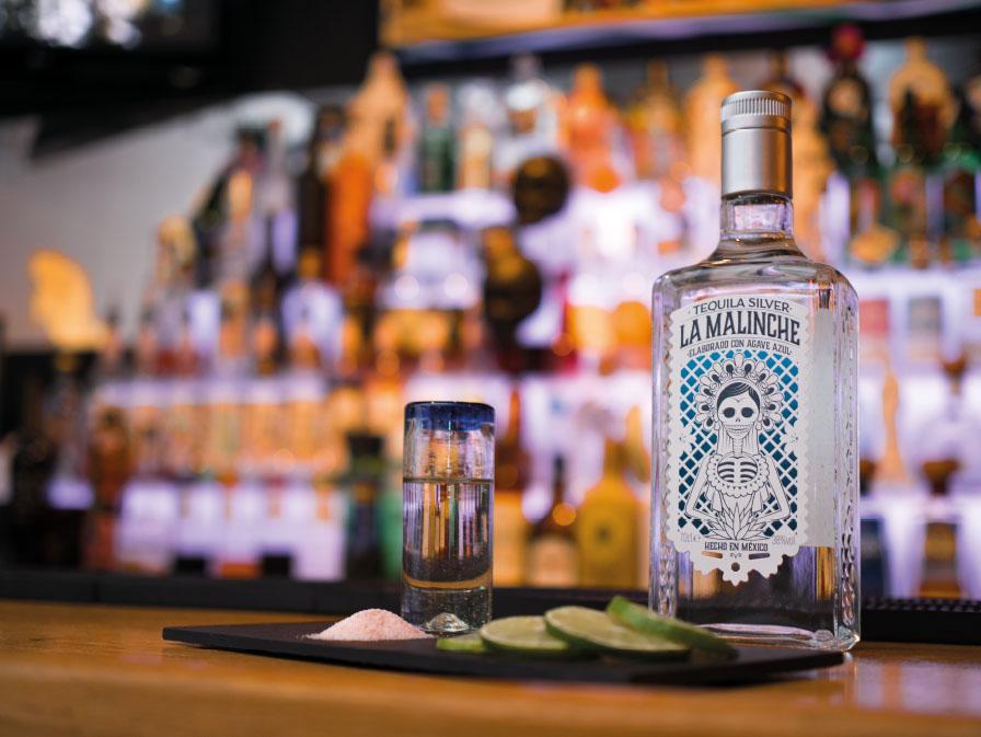 Fondo con botella de Tequila Malinche Silver