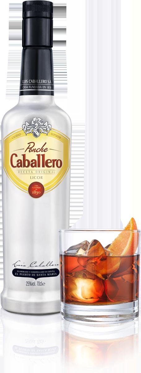 Botella de Ponche Caballeor con vaso